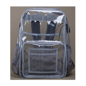 65d47349a7a8 2019 New Grey Large See Through Backpack Heavy Duty Durable Ripstop Nylon  Thick PVC Transparent Bookbag