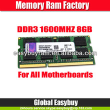 Notebook prices of china laptop 8gb ddr3 ram memory 1600