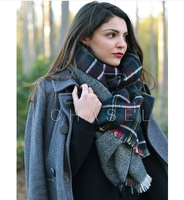 Z A R A Lattice scarf, winter and autumn Tassels thick 100% Cashmere scarf