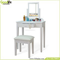 Stylish dressing table with mirror , four departments and 1 small drawer,white