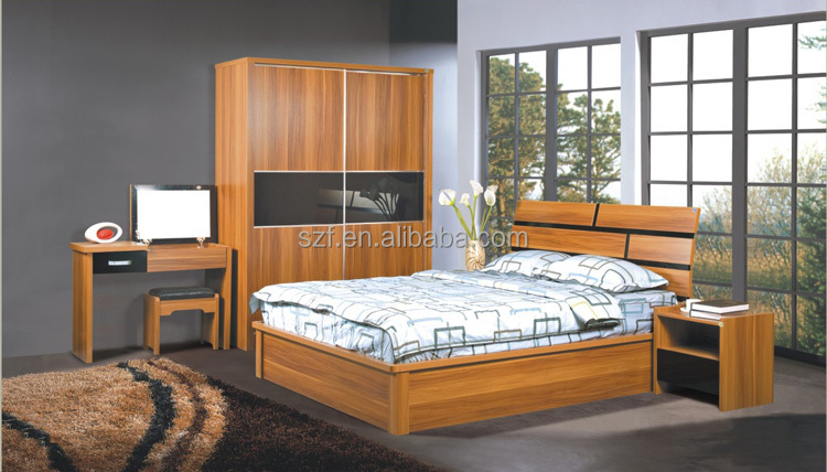 China Manufacturer Solid Teak Wood Bedroom Furniture Set With Nightstand Bed And Dressing Table
