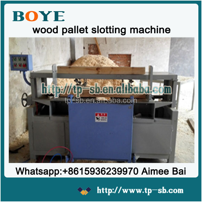 Automatic double head wood pallet notching machine with alloy blades