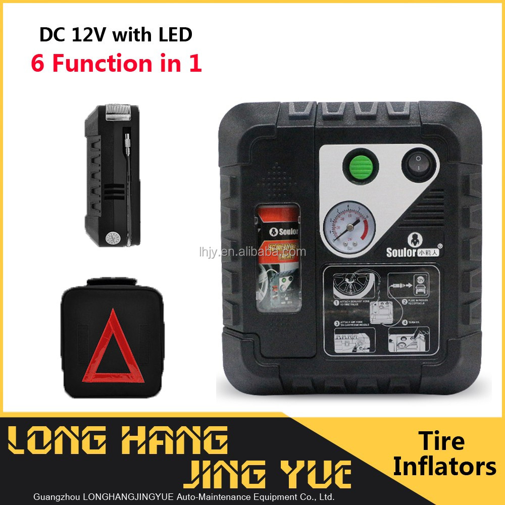 car tire inflator tire gauges air pump with tire sealant muti function 6 in 1 12 volt dc air compressor