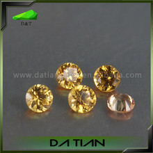 Faceted round natural rough yellow sapphire stone
