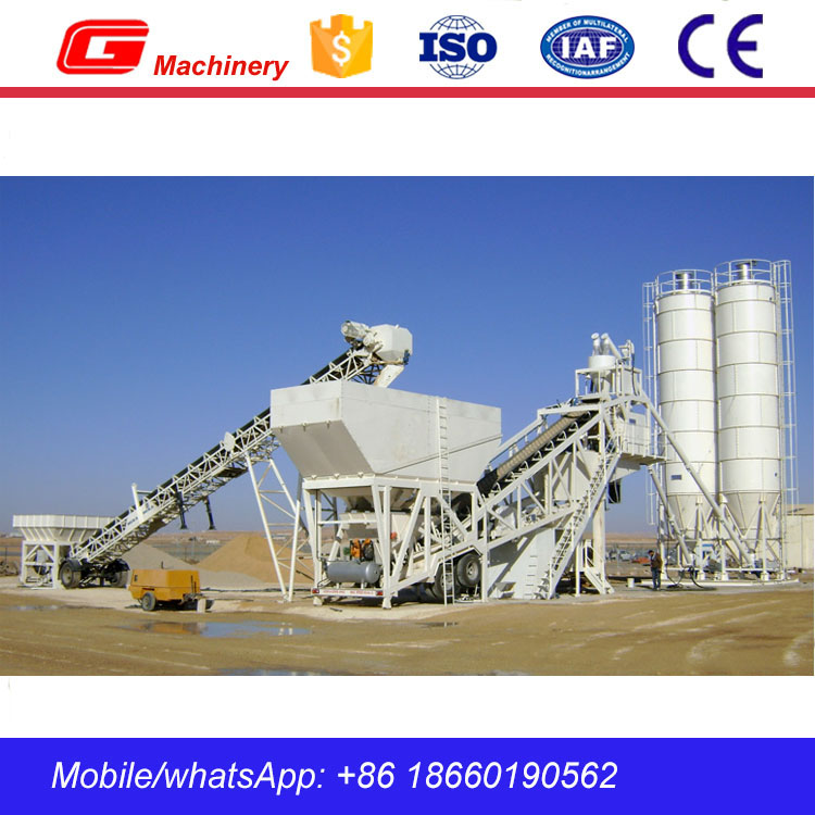 75m3/h YHZS Series Mobile Ready Mix Concrete Batching Plant in Myanmar