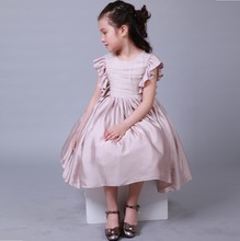 Hand Made Flower Sash Tea Length Tulle A Line Kids Formal Dress Junior Bridesmaid Dress with falbala sleeves