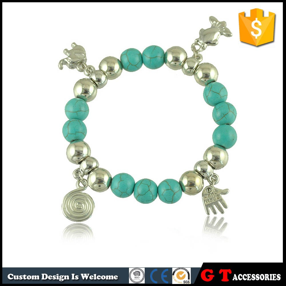 2015 New Bohemian Style Ball Elephant Palm Fish Element Synthetic Turquoise Bracelet Elastic, Handmade Bead Bracelet