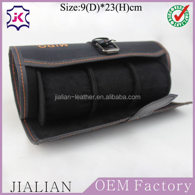 Custom-made Portable Black Cylindrical Oxford fabric Watch Boxes Cases for 3 slots