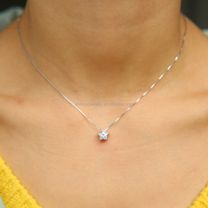 italy silver chain box delicate chain with star cubic zirconia cz single stone star pendant necklace