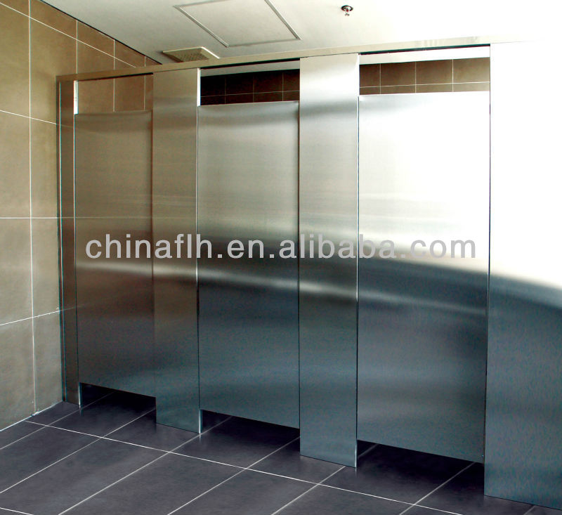Stainless steel surface hpl compact lamination board for Stainless steel bathroom partitions