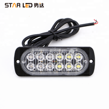 12v Red blue green amber 12 led grille strobe light warning light