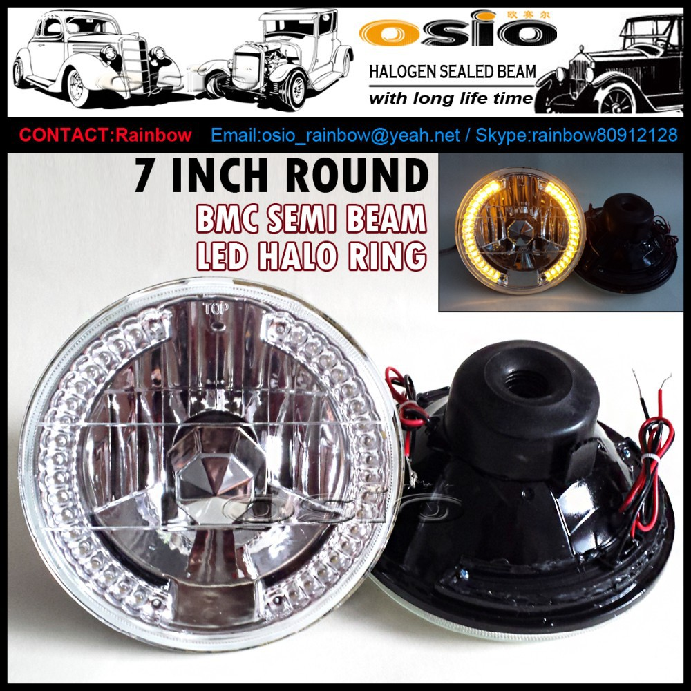 7 inch Round BMC Semi Sealed Beam with LED Halo Ring Auto Halogen sealed beam H4 or HID H4 Xenon Bulb
