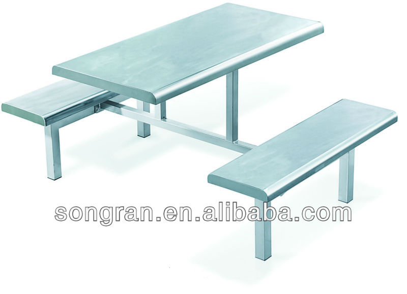New Style Stainless Steel Conjoined Fast Food Table And Chair