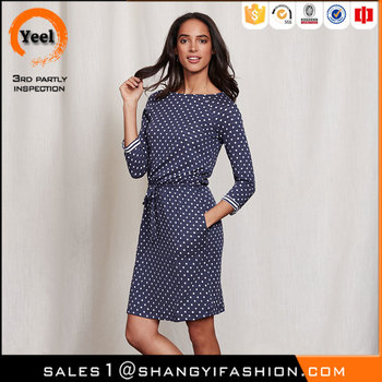 YEEL export to usa grace Anti-Static spot on stripe dress 3/4 length sleeves vestidos