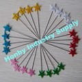 Decorative fashion assorted colors star shape pearl head pins
