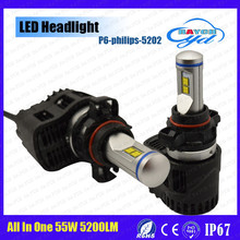 Raych performing 55w 5200lm/bulb with phillips lumiled headlight 5202 h11 p6 led lumileds