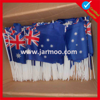 cheering Australian handheld national flag