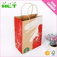 Factory Cheap Custom Logo Design Bakery Food Packaging Kraft Paper Bag With Handle