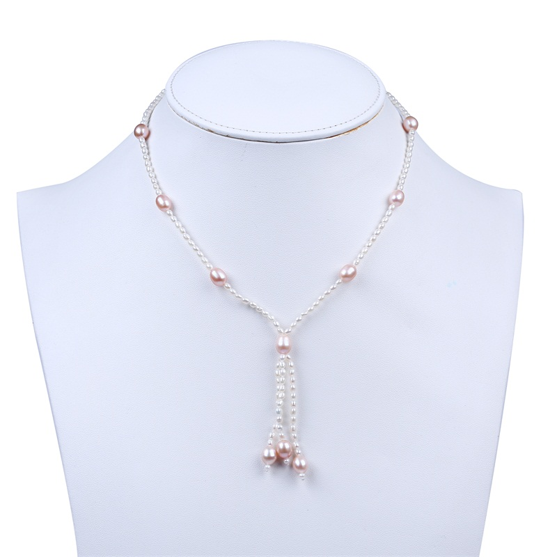 Simple Handmade Stainless Steel Clasp Cotton Pearl Chain Necklace