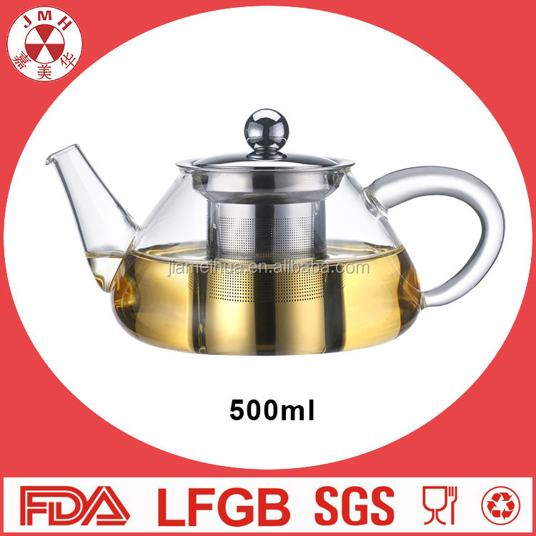 High quality pyrex glass tea pot heat resistance cooking pot with handle