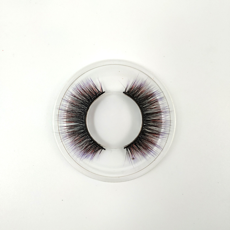 2018 new styles Hot sale High quality round boxes packaging   3D synthetic  fiber colorful eyelashes