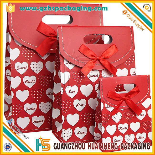 Hot Sale Eco-Friendly Recycled Customized Ribbon Tie Gift Paper Bag