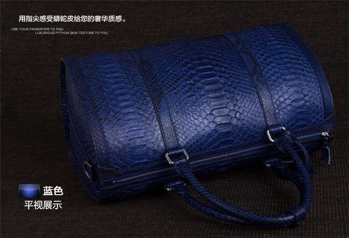 Updated new fashion mens genuine python snake skin leather weekend travel duffle bag_12