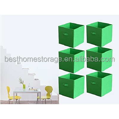 6 Piece Collapsible Storage Boxes Bins Baskets,Non-woven Fabric Cubes,Space Saving For Your Home,Green