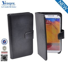 Veaqee wholesale black leather flip case cover for samsung galaxy note 2 n7100