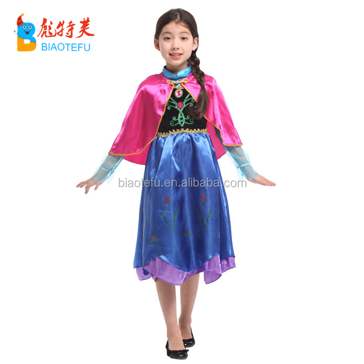 High quality party carnival costumes Elsa frozen Anna cosplay fancy dress TV&MOVIE for girls