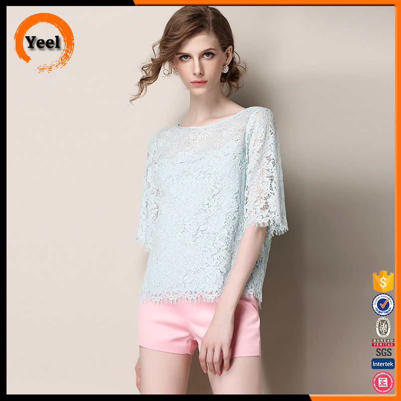 Ladies new design women clothing cheap fashion lace tops