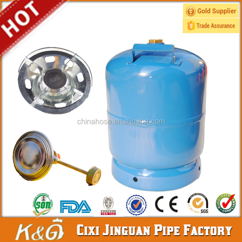 Factory Supply Empty Gas Cylinder 3 kg LPG Products Camping with Cooker Burner Price Nigeria Market