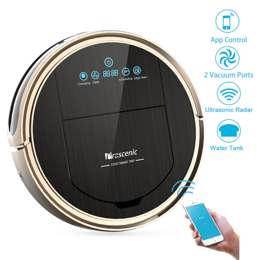 Proscenic robotic vacuum cleaner with bristle brush and vacuum port