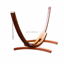 Freestanding stylish curved arc wooden hammock stand