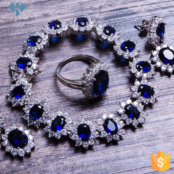 Luxury blue glass white zircon rani haar necklace jewelry set manufacturer china