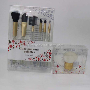 High end hard Folding PVC PET cosmetic brush box plastic packaging , acetate cosmetic printed box