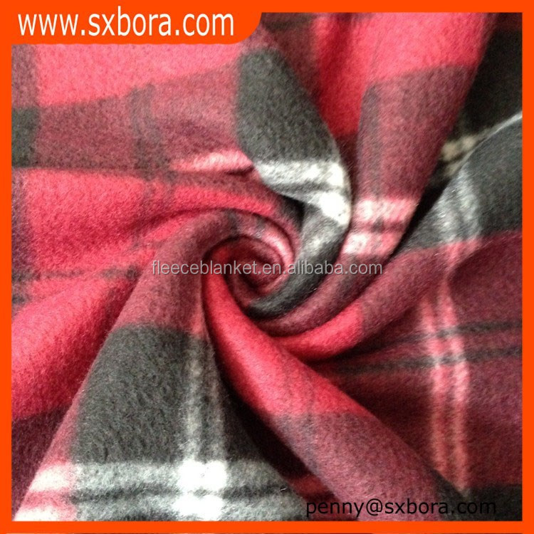 BAOLAI manufactory wholesale red check printing polar fleece fabric