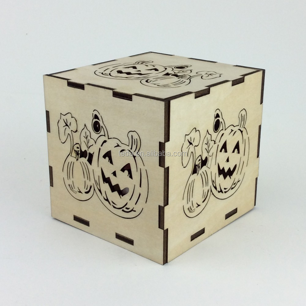Laser cut wood pumpkin candle holder Halloween decor