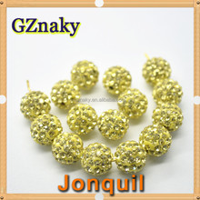 Jonquil 10mm Shamballa glass ball Beads Czech Crystal Rhinestones Pave Clay Disco Ball color glass bead to make bracelet