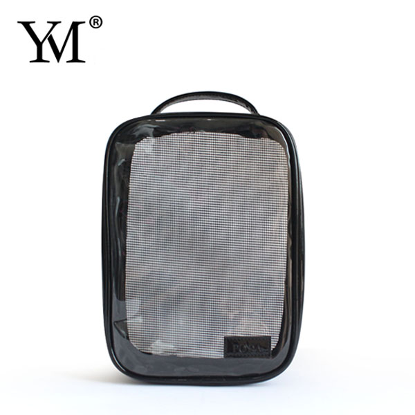 2017 Wholesale fashion promotional small women's pvc and mesh cosmetic pouch gift bag