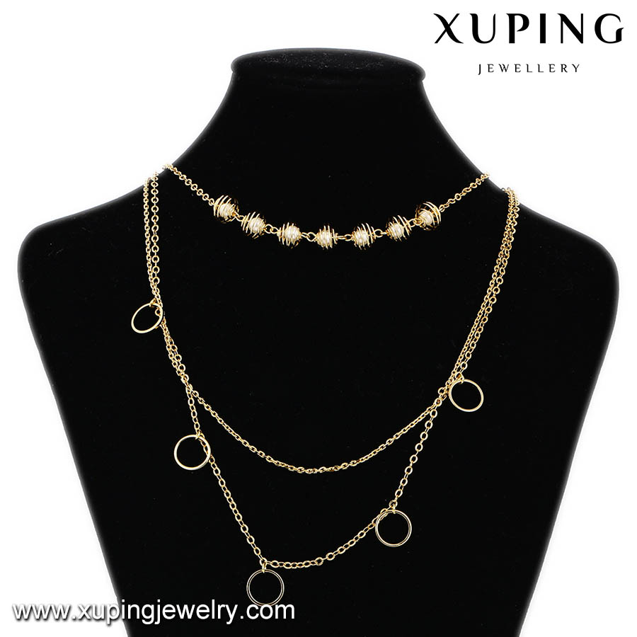 42961 xuping african fashion custume jewelry 14k gold layered wedding fancy long chain necklace