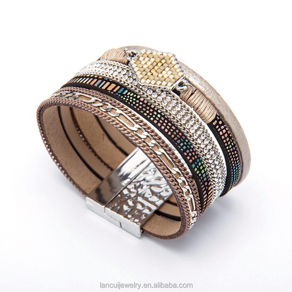 Summer Leather Charm Magnet Buckle Bracelets Bohemian Bracelets For Women