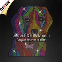 Colorful Dog Hot Fix Crystal Super Design Custom Wholesale Bling AB Crystal Accessories