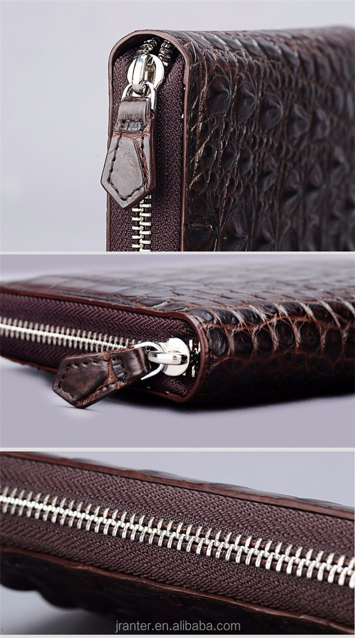 Fashion Luxury Handmade Men Business Wallet Real Crocodile leather Clutch Wallet Men_12