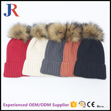 china factory wholesale OEM Winter warm Fur Knit Beanie knitted big pom Ski Cap Bobble Hat