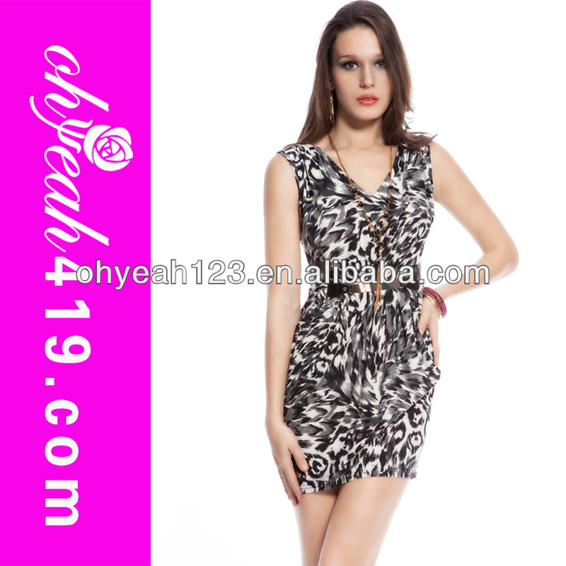 Knee length sexy leopard print satin dress wholesale