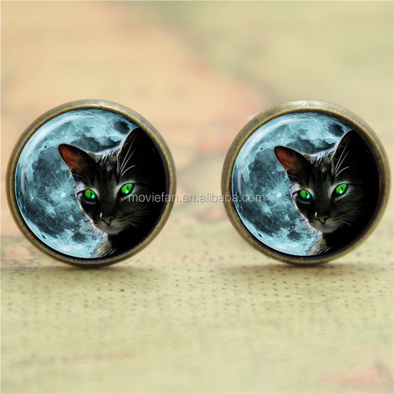 Halloween earring, Black cat with green eyes earring print photo cat earring