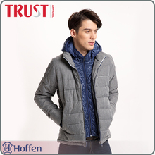 wholesale brand two pieces <strong>man</strong> grey padding winter jacket with hood