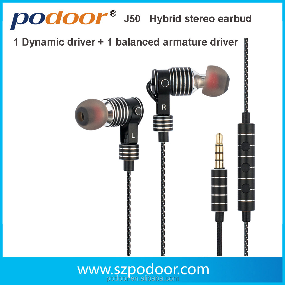 Factory wholesale high quality Dynamic & Balanced-Armature stereo Hi-Fi earphone for Iphones, and Android phones - J50