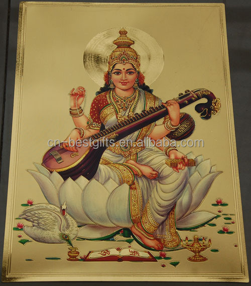 India gods gold foil painting